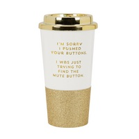 CR Gibson Plastic with foil accents and glitter, 16 ounce capacity, Electroplated lid, Hand wash