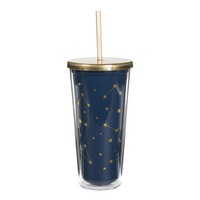 CR Gibson Acrylic, features foil stamping, hand wash only, double wall tumbler with lid and straw