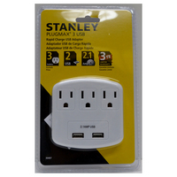 3 GROUNDED OUTLET ADAPTR with 2 USB PORTS
