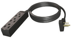 15ft Indoor Grounded 3 Outlet Extension Cord Black
