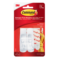 3M Command Medium Utility Hooks White 2Pack