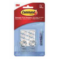 17095CLR ES COMMAND CLEAR MEDIUM HOOKS CRYSTAL