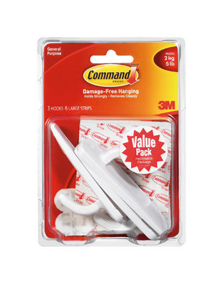 3M Command Adhesive 3 Pack Large Hooks