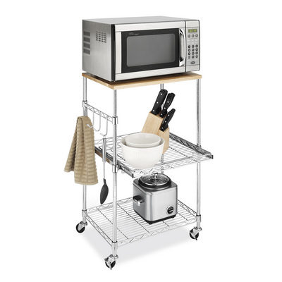 Whitmor Supreme Microwave Cart in Chrome Steel with Birch Wood Top