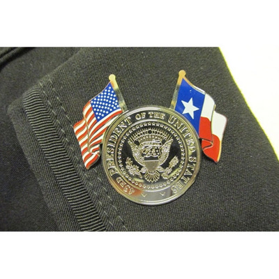 43rd Presidential Seal Lapel Pin With The US And TX Flags