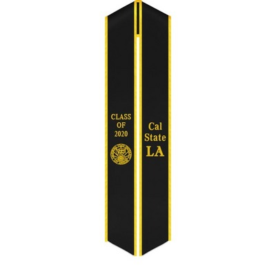 Black Velvet Sash With Gold Trim