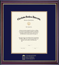 Diploma with Navy Blue and Gold Double Mat in Windsor