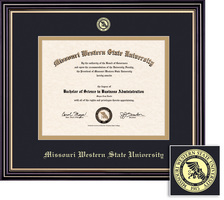 Framing Success Prestige Diploma Frame, Single Mat in Satin Black Finish, Gold Trim