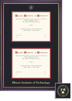 Framing Success Windsor Double Diploma Frame in a Gloss Cherry Finish and Gold Trim