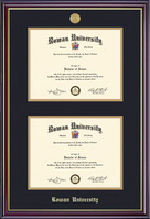 Framing Success Windsor Double Diploma Frame Dble Matted in Gloss Cherry Finish, Gold Trim