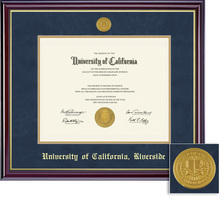 Framing Success Windsor Diploma Medallion Frame, Double Matted in Gloss Cherry Finish, Gold Trim