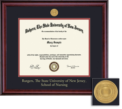 Framing Success Nursing MA Medallion Diploma Frame, Double Matted in Burnished Cherry Finish