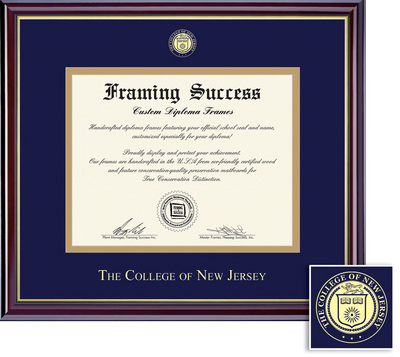 Framing Success Windsor Diploma Frame, Double matted in gloss cherry finish, gold trim.
