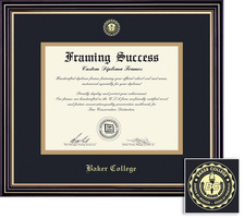 Framing Success Prestige Diploma Frame, Dbl Mat in Satin Black Finish with Gold Accents. BA, MA