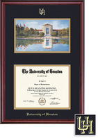 Framing Success Classic Diploma & Litho Frame, Dbl Matted in Burnished Cherry Finish