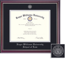 Framing Success Jefferson Law Diploma Frame, Double Matted Gloss Cherry Finish, Silver Inner Bevel