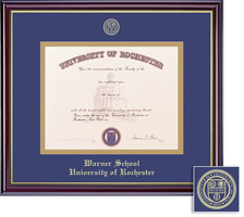 Framing Success Windsor Diploma Frame, Double Matted in Gloss Cherry Finish, Gold Trim. PhD