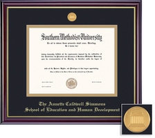 Framing Success MA, PhD Edu., Human Dvlp. Wind Mdl Dip, Dbl Mat in gloss cherry finish & gold bevel