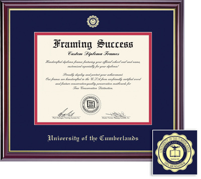 Framing Success Windsor Doctorate Diploma Frame, Dbl Matted in Gloss Cherry Finish, Gold Trim