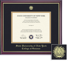 Framing Success Windsor Diploma Frame. Double Matted in Gloss Cherry Finish, Gold Trim