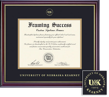 Framing Success Windsor Diploma Frame, Double Matted in Gloss Cherry Finish with Gold Inner Bevel
