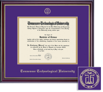 Framing Success Diploma Frame. Purple & Gold Mat in a High Gloss Cherry Finish, Gold Inner Bevel