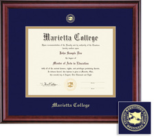 Framing Success Windsor Diploma Frame, Navy Blue and Gold Double Mat in a High Gloss Cherry Finish