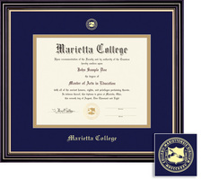 Framing Success Prestige Diploma Frame, Navy Blue and Gold Double Mat in a Satin Black Finish
