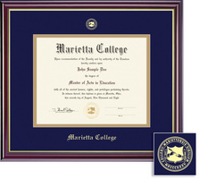 Framing Success Classic Diploma Frame, Navy Blue and Gold Double Mat, Rich Burnished Cherry Finish