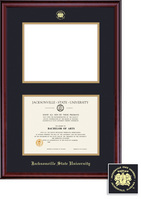Framing Success Diploma & Photo Opening Frame, Black & Gold Mat in a Rich Burnished Cherry Finish