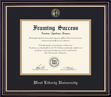 Framing Success Prestige Diploma Frame, Double Mat in a Satin Black Finish with Gold Accents