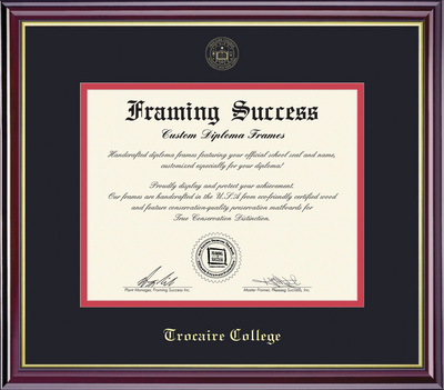 Framing Success Windsor Diploma Frame, Double Mat, High Gloss Cherry Finish with Gold Inner Bevel