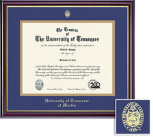 Framing Success Windsor Diploma Frame, Double Mat in High Gloss Cherry Finish, Gold Inner Bevel