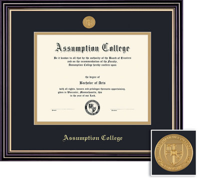 Framing Success Prestige Diploma with Medallion, Dbl Mat, Satin Black Finish, Beautiful Gold Accents