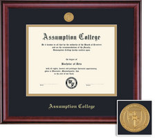 Framing Success Classic Diploma with Medallion, Double Mat in a Rich Burnished Cherry Finish