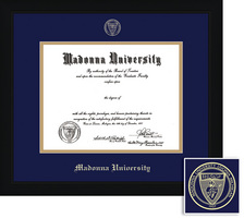 Framing Success Diploma Frame, Dbl Mat, Contemporary Black Matte Finish, Angled Inner Edge. BA, MA