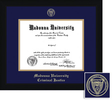 Framing Success Diploma Frame, Double Mat, Black Matte Finish, Angled Inner Edge. Criminal Justice
