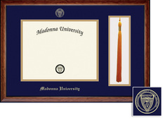 Framing Success Diploma & Tassel Frame, Double Mat, Exquisite Birdseye Maple, Black Trim. BA, MA