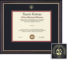 Framing Success Prestige Diploma Frame, Dbl Mat, Satin Black Finish with Beautiful Gold Accents. BA