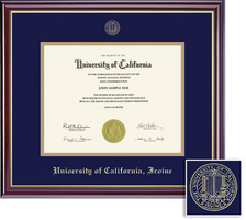 Framing Success Windsor Diploma Frame, Dbl Mat, High Gloss Cherry Finish, Gold Inner Bevel. BA, MA