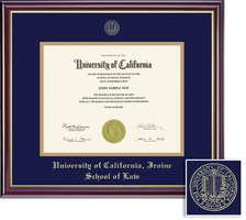 Framing Success Windsor Diploma Frame, Dbl Mat, High Gloss Cherry Finish, Gold Inner Bevel. Law