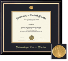 Framing Success Prestige Diploma Frame Double Matted in Satin Black Finish, Gold Trim. Bachelors
