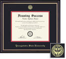 Framing Success PhD Prestige Diploma Frame, Double Mat in a Satin Black Finish, Gold Accents