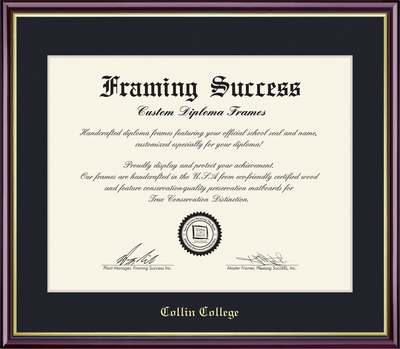 Framing Success Diploma, Single Mat in a high gloss cherry finish w gold inner bevel & slim contour