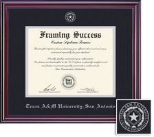 Framing Success Elite Diploma, Double Mat in a lustrous Cherry Finish with a HighGloss Coating