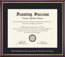 Framing Success Elizabeth Town Community Technical College diploma Dark Black Single Mat Academic