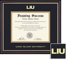 Framing Success Prestige Diploma, Double Mat in satin black finish with beautiful gold accents