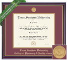 Framing Success Pharm Diploma, Double Mat High Gloss Cherry Finish with Gold Inner Bevel