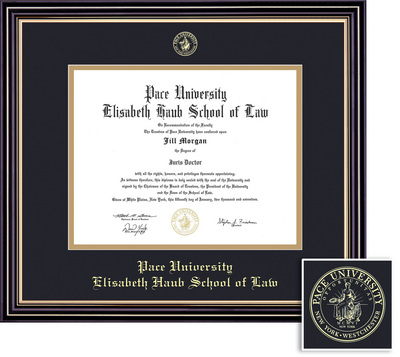 Framing Success Prestige Law Diploma, Double Mat in Satin Black Finish with Beautiful Gold Accents