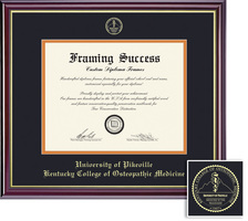 Framing Success Windsor MD Diploma, Double Matted in High Gloss Cherry Finish with Gold Inner Bevel